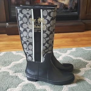COACH Pammie Black Rain Boots Size 6